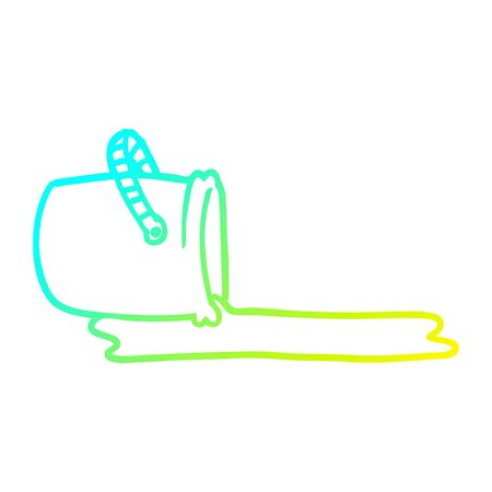 cold gradient line drawing of a cartoon bucket  イラスト・ベクター素材