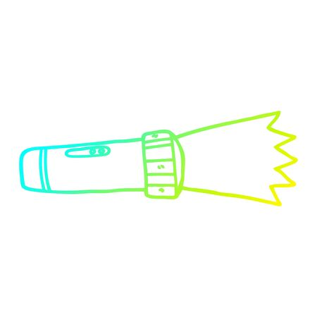 cold gradient line drawing of a cartoon of lit torch