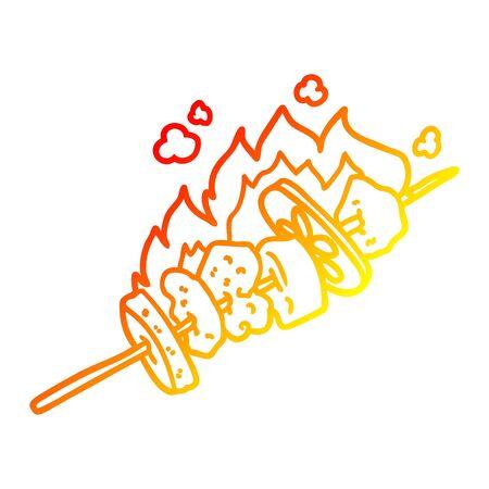 warm gradient line drawing of a cartoon kebab sticks