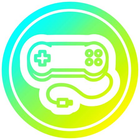 console game controller circular icon with cool gradient finish 向量圖像