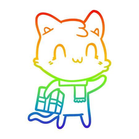 rainbow gradient line drawing of a cartoon happy cat wearing scarf