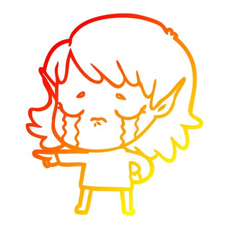 warm gradient line drawing of a cartoon crying elf girl