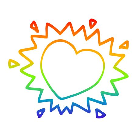 rainbow gradient line drawing of a cartoon flaming heart