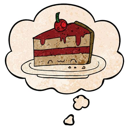 cartoon cake with thought bubble in grunge texture style Ilustracja