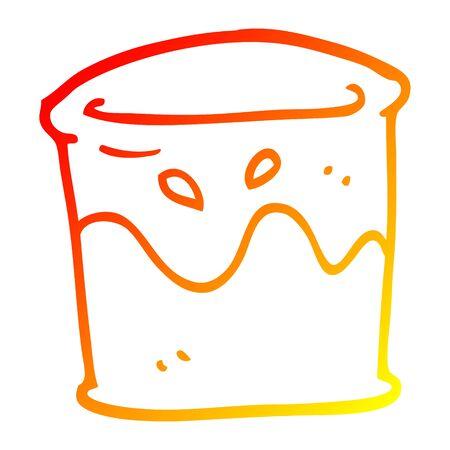 warm gradient line drawing of a cartoon drink in tumbler Stock Illustratie