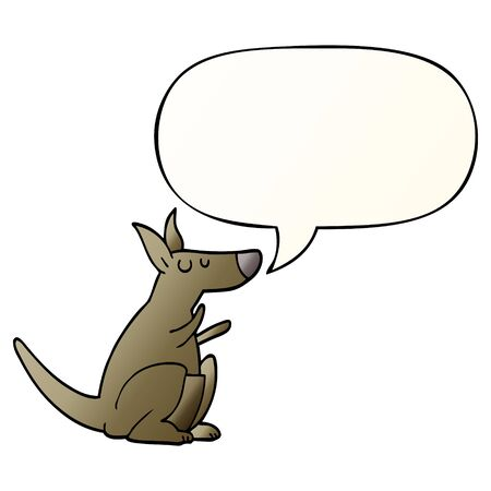 cartoon kangaroo with speech bubble in smooth gradient style