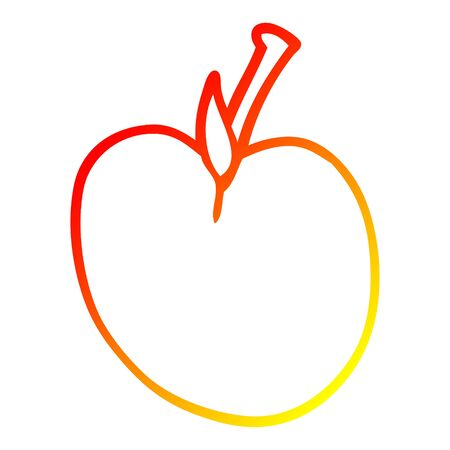 warm gradient line drawing of a cartoon apple