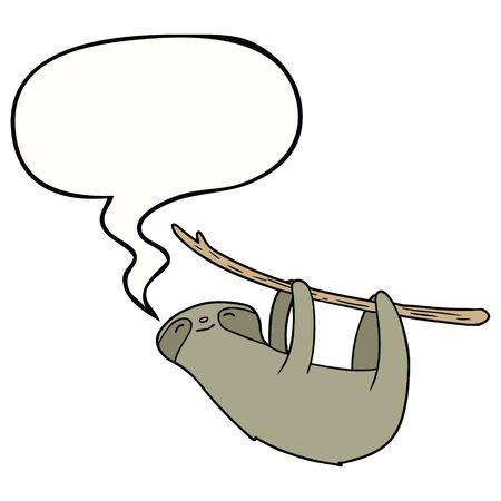 cartoon sloth with speech bubble