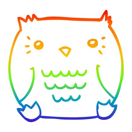 rainbow gradient line drawing of a cartoon owl