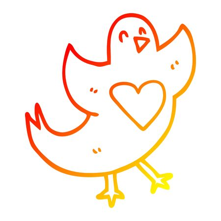 warm gradient line drawing of a cartoon bird with love heart Çizim