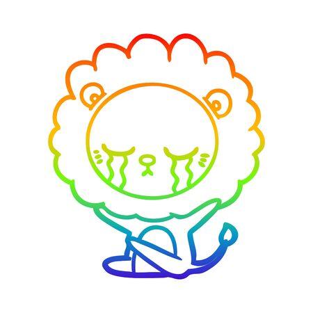 rainbow gradient line drawing of a crying cartoon lion  イラスト・ベクター素材