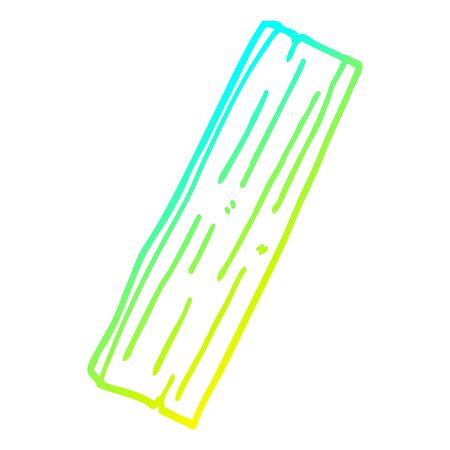 cold gradient line drawing of a cartoon plank of wood