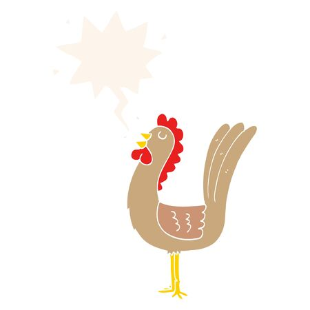 cartoon rooster with speech bubble in retro style