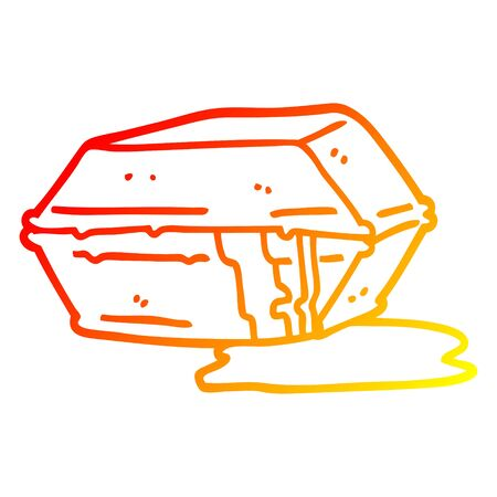 warm gradient line drawing of a cartoon greasy take out food