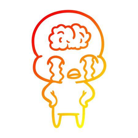 warm gradient line drawing of a cartoon big brain alien crying