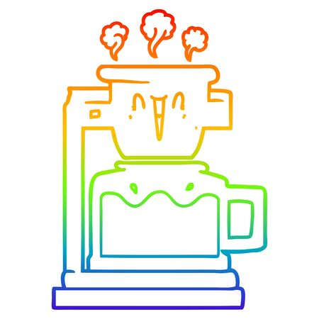 rainbow gradient line drawing of a steaming hot coffee pot