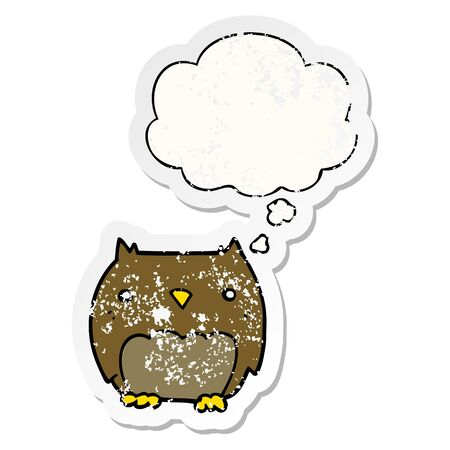 cute cartoon owl with thought bubble as a distressed worn sticker