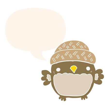 cute cartoon owl in hat with speech bubble in retro style