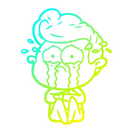 cold gradient line drawing of a cartoon crying man