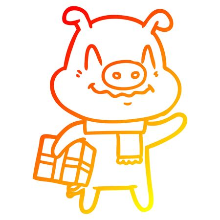 warm gradient line drawing of a nervous cartoon pig with present Illustration