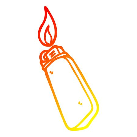 warm gradient line drawing of a cartoon disposable lighter