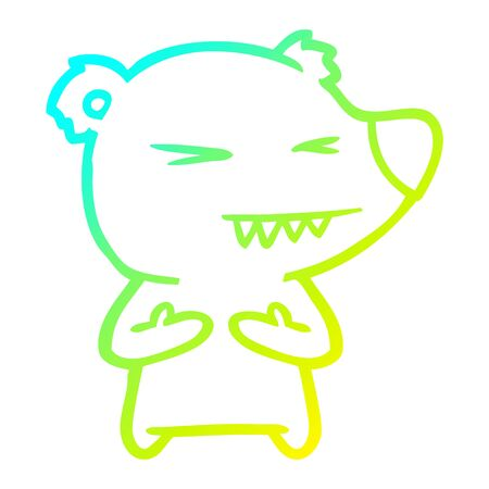 cold gradient line drawing of a angry bear cartoon