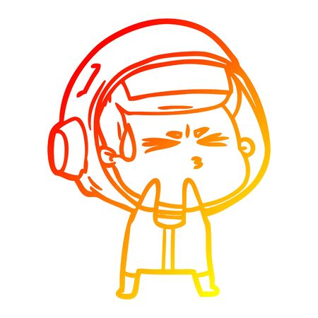warm gradient line drawing of a cartoon stressed astronaut