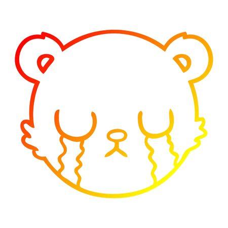 warm gradient line drawing of a cute cartoon teddy bear face crying