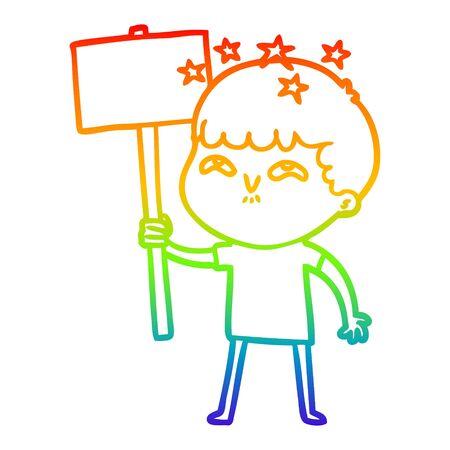 rainbow gradient line drawing of a cartoon amazed boy