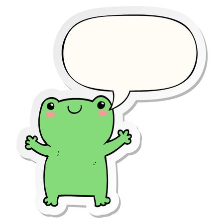 cute cartoon frog with speech bubble sticker  イラスト・ベクター素材