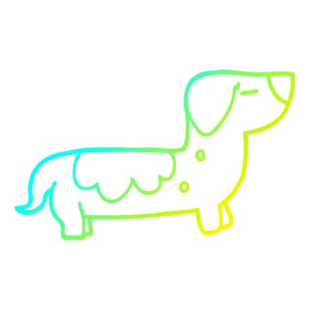cold gradient line drawing of a cartoon sausage dog