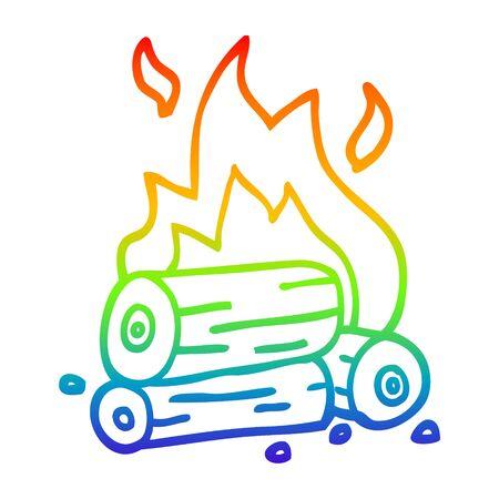 rainbow gradient line drawing of a cartoon burning logs