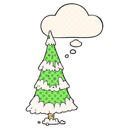 cartoon christmas tree with thought bubble in comic book style Stock Vector - 129751448