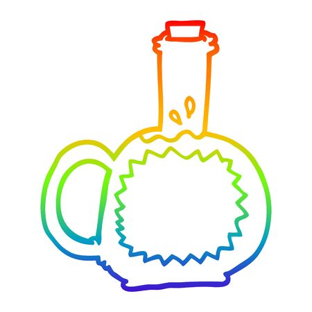 rainbow gradient line drawing of a cartoon syrup