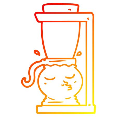 warm gradient line drawing of a cartoon filter coffee machine
