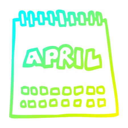 cold gradient line drawing of a cartoon calendar showing month of april Illustration