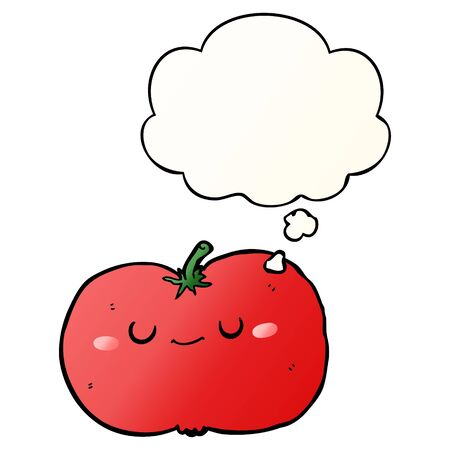 cartoon apple with thought bubble in smooth gradient style
