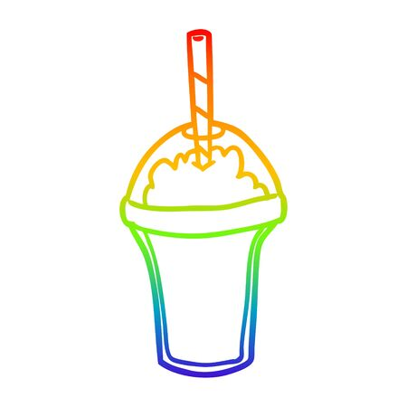 rainbow gradient line drawing of a smoothie
