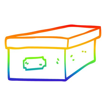 rainbow gradient line drawing of a cartoon filing box