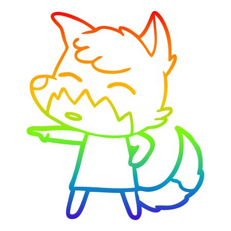 rainbow gradient line drawing of a cartoon fox in dress pointing