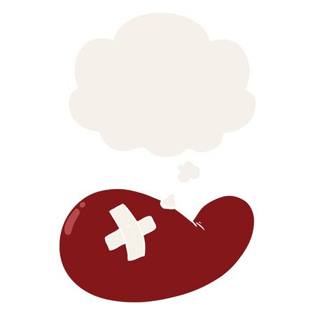cartoon injured gall bladder with thought bubble in retro style