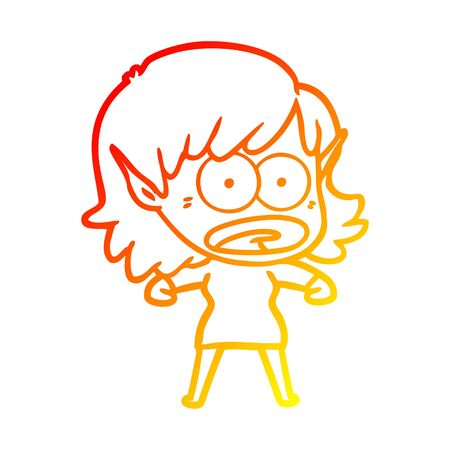 warm gradient line drawing of a cartoon shocked elf girl