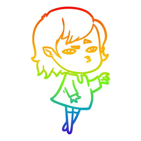 rainbow gradient line drawing of a cartoon vampire girl 向量圖像