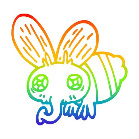 rainbow gradient line drawing of a cartoon fly 일러스트