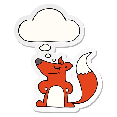 cartoon fox with thought bubble as a printed sticker