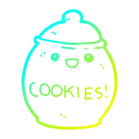 cold gradient line drawing of a cute cartoon cookie jar