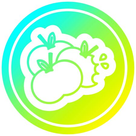 juicy apples circular icon with cool gradient finish