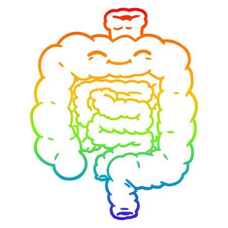 rainbow gradient line drawing of a cartoon intestines Stock Illustratie