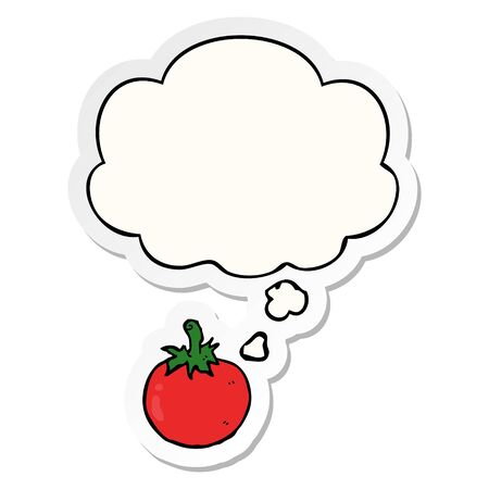 cartoon tomato with thought bubble as a printed sticker