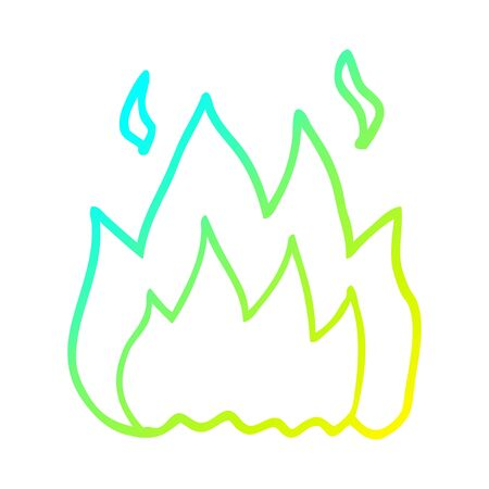 cold gradient line drawing of a cartoon fire burning